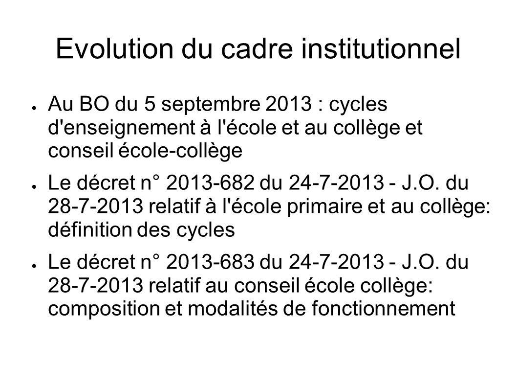 Evolution du cadre institutionnel Au BO du 5 septembre 2013 : cycles d'enseignement à l'école et au collège et conseil école-collège Le décret n° 2013