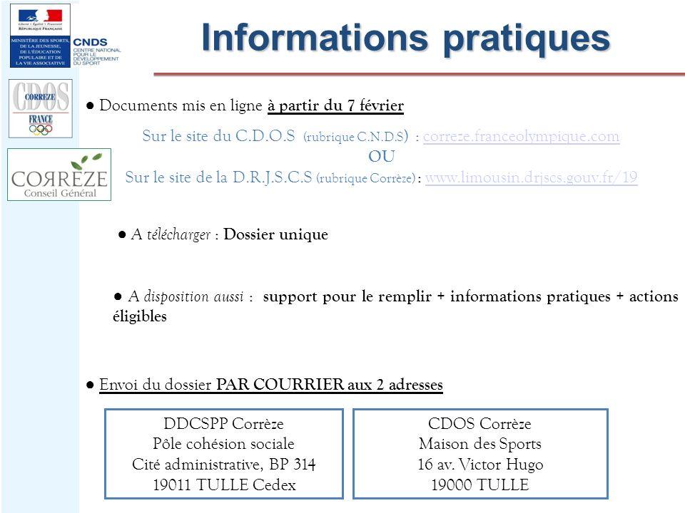 Documents mis en ligne à partir du 7 février Sur le site du C.D.O.S (rubrique C.N.D.S ) : correze.franceolympique.comcorreze.franceolympique.com OU Su