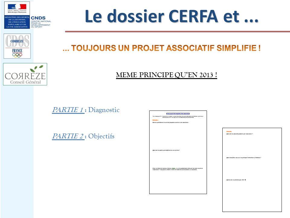 MEME PRINCIPE QUEN 2013 ! PARTIE 1 : Diagnostic PARTIE 2 : Objectifs Le dossier CERFA et...