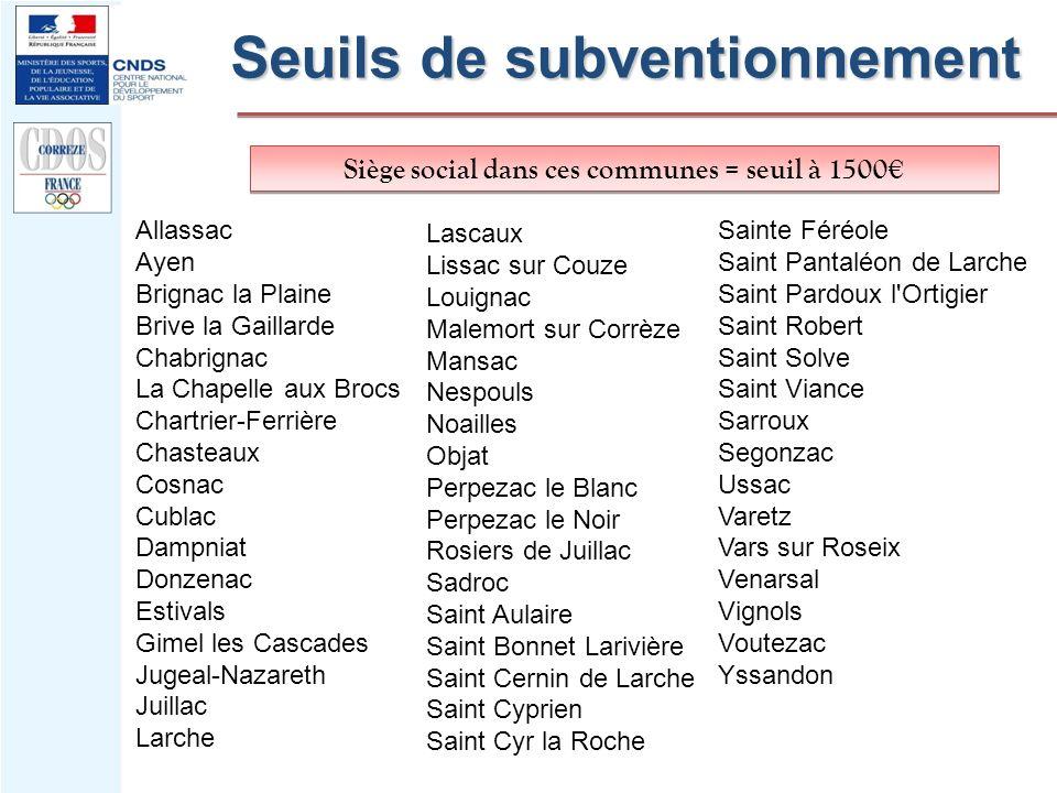 Siège social dans ces communes = seuil à 1500 Seuils de subventionnement Allassac Ayen Brignac la Plaine Brive la Gaillarde Chabrignac La Chapelle aux