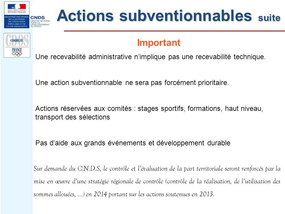 Actions subventionnables suite Important Une recevabilité administrative nimplique pas une recevabilité technique. Une action subventionnable ne sera