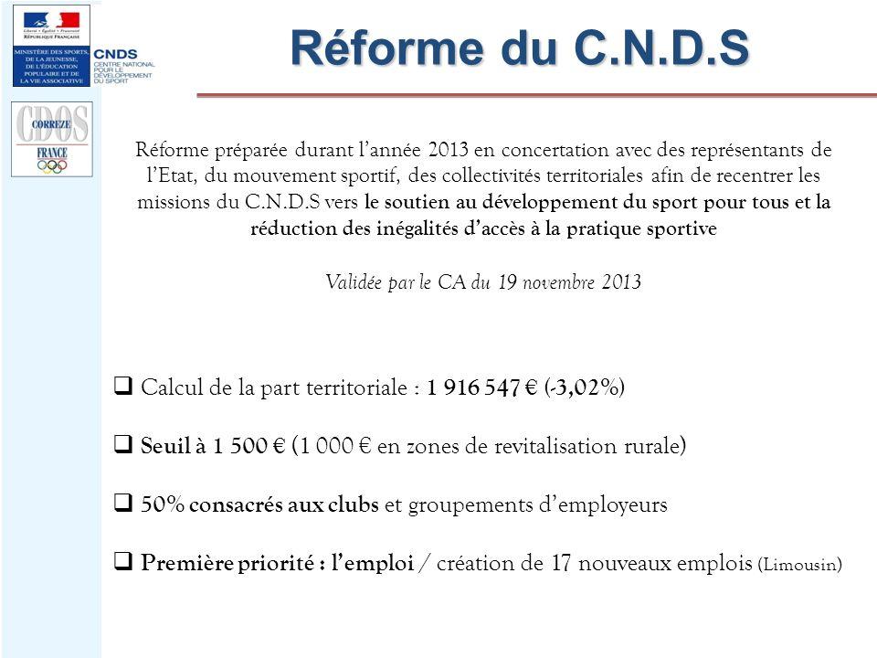 Réforme du C.N.D.S Réforme préparée durant lannée 2013 en concertation avec des représentants de lEtat, du mouvement sportif, des collectivités territ