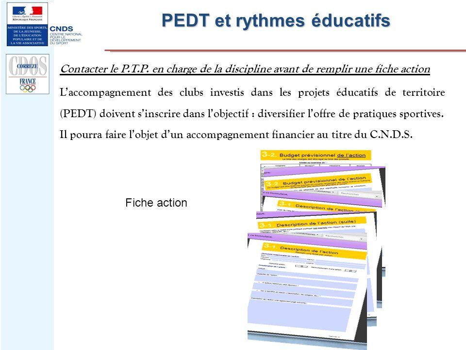 PEDT et rythmes éducatifs Contacter le P.T.P. en charge de la discipline avant de remplir une fiche action Fiche action Laccompagnement des clubs inve
