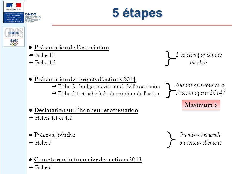 5 étapes Présentation de lassociation Fiche 1.1 Fiche 1.2 Présentation des projets dactions 2014 Fiche 2 : budget prévisionnel de lassociation Fiche 3