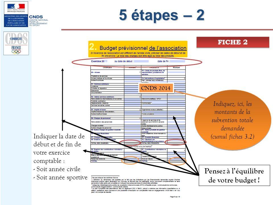 5 étapes – 2 FICHE 2 Indiquer la date de début et de fin de votre exercice comptable : - Soit année civile - Soit année sportive Pensez à léquilibre d