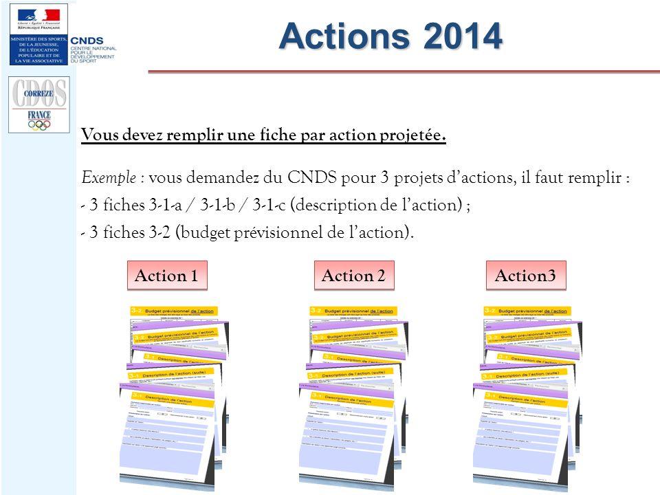 Action 1 Actions 2014 Vous devez remplir une fiche par action projetée. Exemple : vous demandez du CNDS pour 3 projets dactions, il faut remplir : - 3
