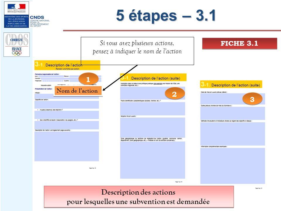 5 étapes – 3.1 1 1 3 3 2 2 Description des actions pour lesquelles une subvention est demandée Description des actions pour lesquelles une subvention