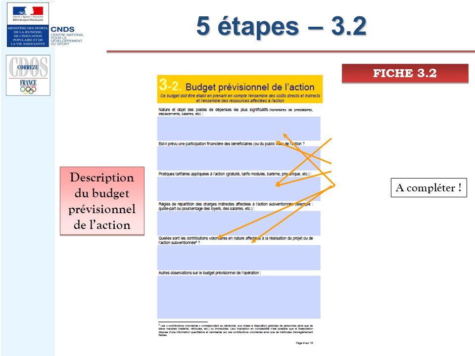 5 étapes – 3.2 FICHE 3.2 Description du budget prévisionnel de laction A compléter !