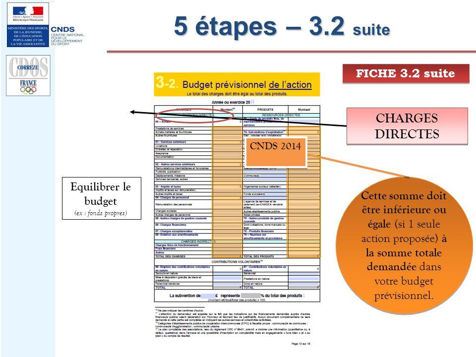 5 étapes – 3.2 suite FICHE 3.2 suite CHARGES DIRECTES Cette somme doit être inférieure ou égale (si 1 seule action proposée) à la somme totale demandé