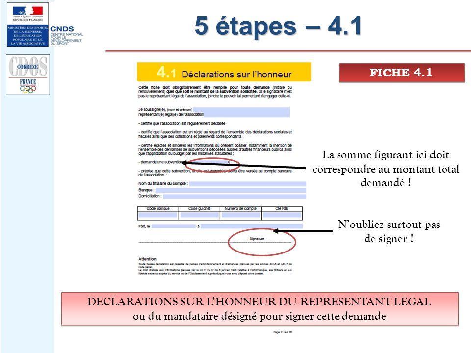 5 étapes – 4.1 FICHE 4.1 La somme figurant ici doit correspondre au montant total demandé ! Noubliez surtout pas de signer ! DECLARATIONS SUR LHONNEUR