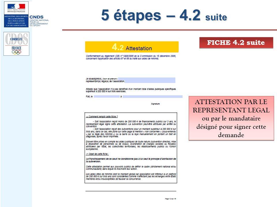 5 étapes – 4.2 suite FICHE 4.2 suite ATTESTATION PAR LE REPRESENTANT LEGAL ou par le mandataire désigné pour signer cette demande ATTESTATION PAR LE R