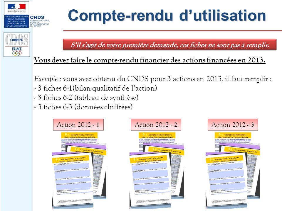 Compte-rendu dutilisation Vous devez faire le compte-rendu financier des actions financées en 2013. Exemple : vous avez obtenu du CNDS pour 3 actions