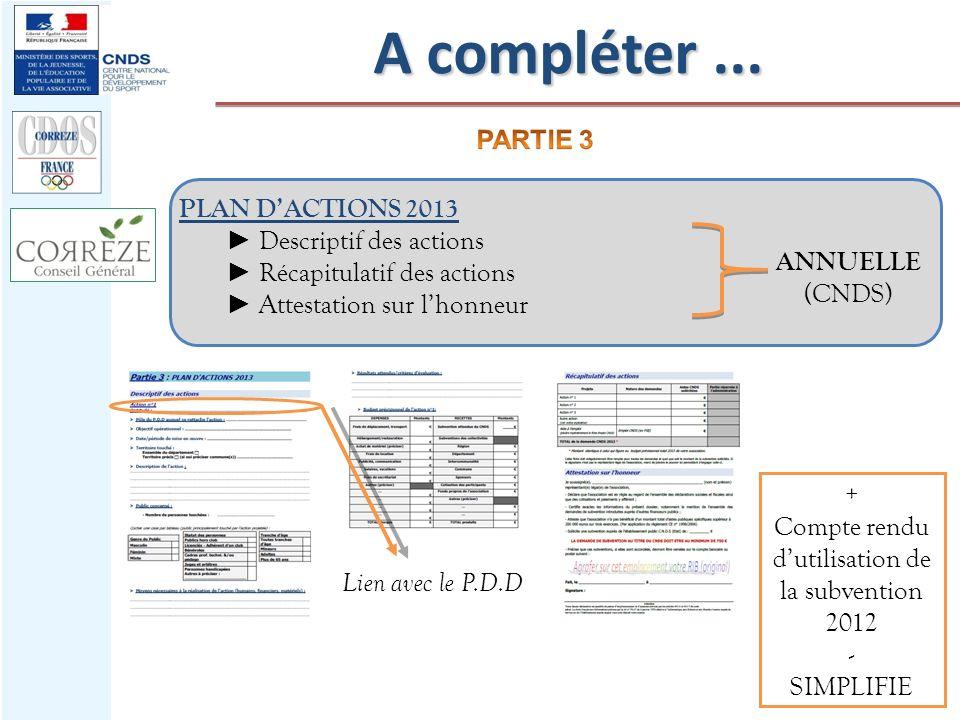 PLAN DACTIONS 2013 Descriptif des actions Récapitulatif des actions Attestation sur lhonneur ANNUELLE (CNDS) Lien avec le P.D.D A compléter... + Compt