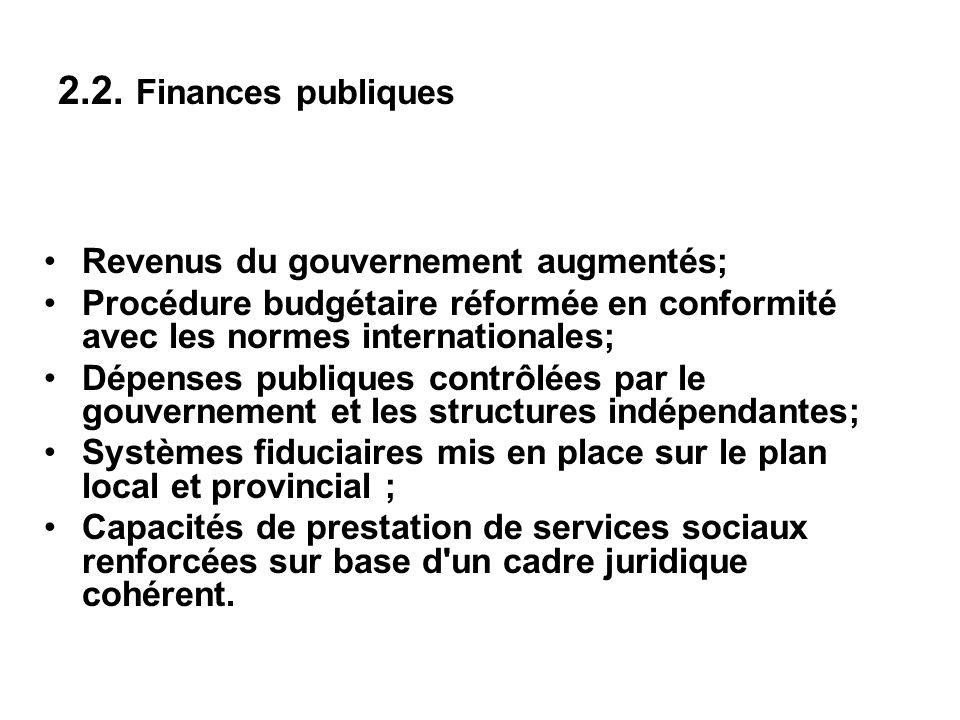 2.2. Finances publiques Revenus du gouvernement augmentés; Procédure budgétaire réformée en conformité avec les normes internationales; Dépenses publi