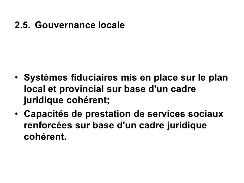2.5. Gouvernance locale Systèmes fiduciaires mis en place sur le plan local et provincial sur base d'un cadre juridique cohérent; Capacités de prestat