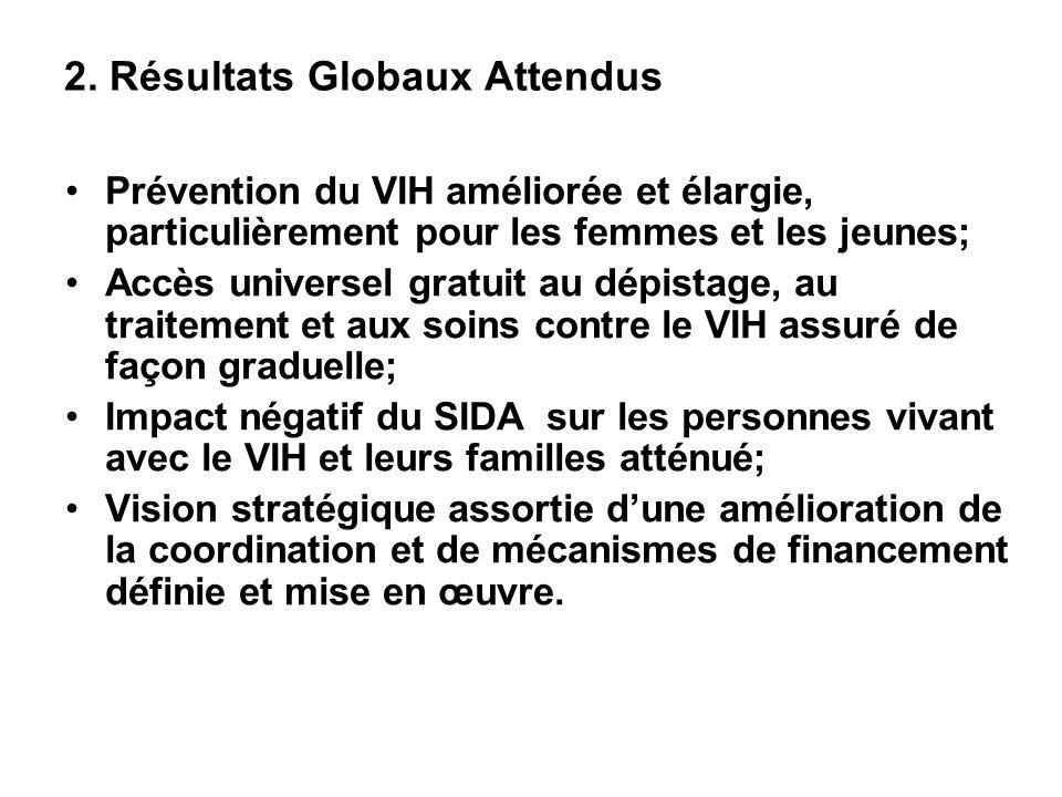 2. Résultats Globaux Attendus Prévention du VIH améliorée et élargie, particulièrement pour les femmes et les jeunes; Accès universel gratuit au dépis