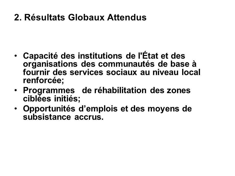 2. Résultats Globaux Attendus Capacité des institutions de l'État et des organisations des communautés de base à fournir des services sociaux au nivea