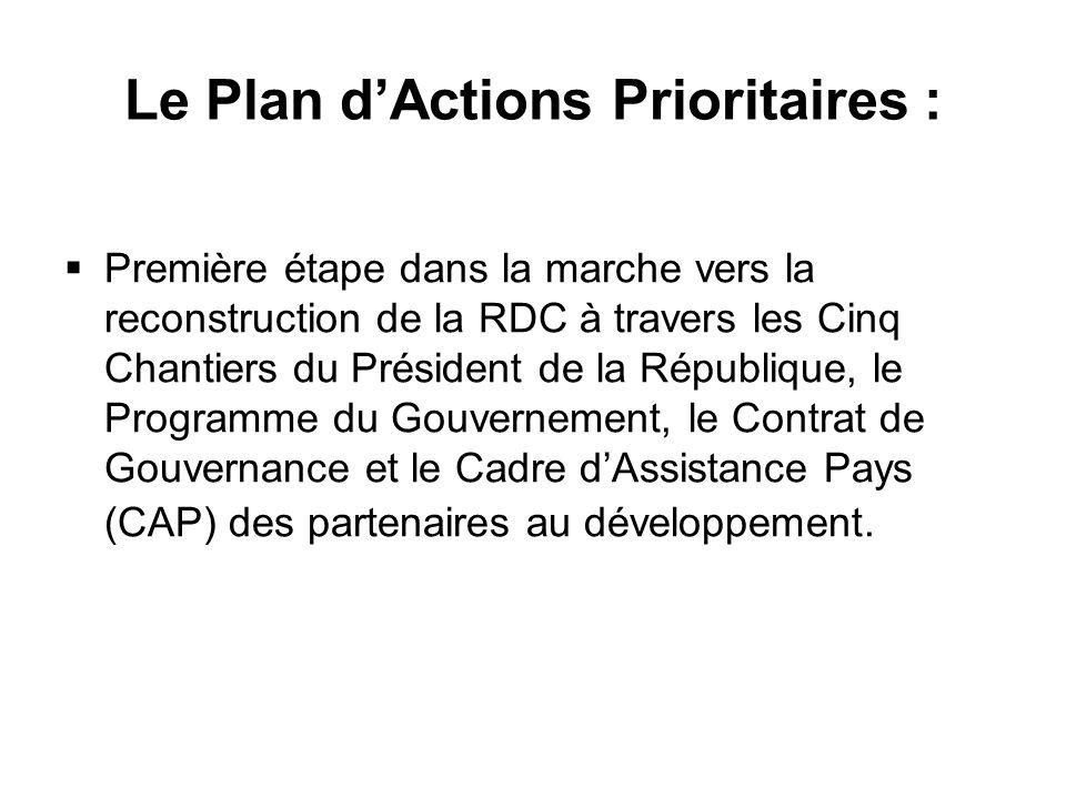 Le Plan dActions Prioritaires : Première étape dans la marche vers la reconstruction de la RDC à travers les Cinq Chantiers du Président de la République, le Programme du Gouvernement, le Contrat de Gouvernance et le Cadre dAssistance Pays (CAP) des partenaires au développement.