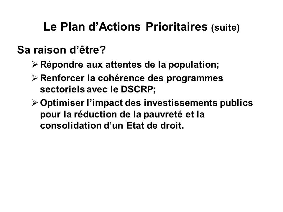 Le Plan dActions Prioritaires (suite) Sa raison dêtre.