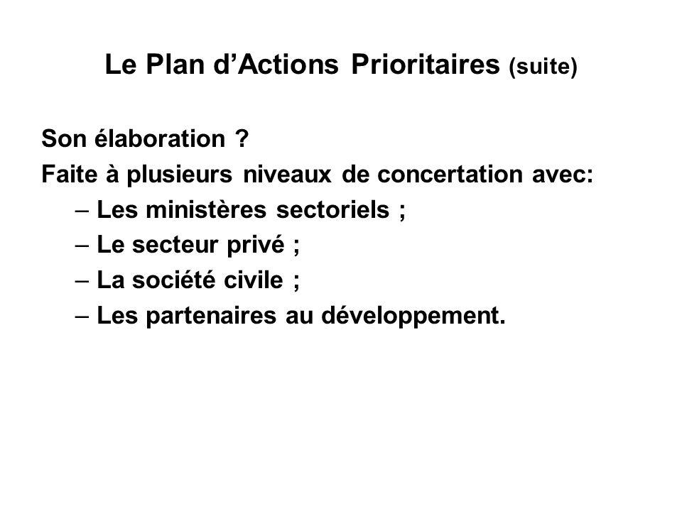 Le Plan dActions Prioritaires (suite) Son contenu .