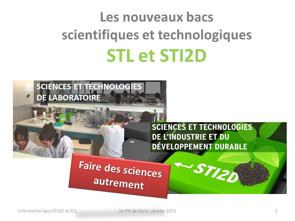 Les nouveaux bacs scientifiques et technologiques STL et STI2D IA-IPR de Paris - janvier 2013Information bacs STI2D et STL1 SCIENCES ET TECHNOLOGIES D