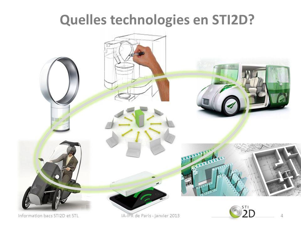 Quelles technologies en STI2D? IA-IPR de Paris - janvier 2013Information bacs STI2D et STL4