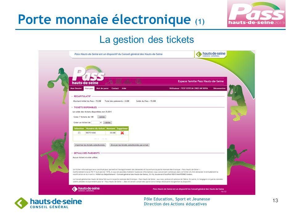 Pôle Education, Sport et Jeunesse Direction des Actions éducatives 13 Porte monnaie électronique (1) La gestion des tickets