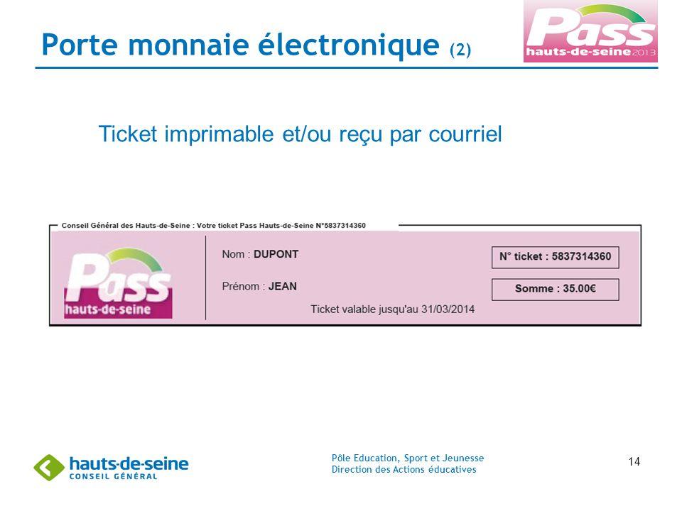 Pôle Education, Sport et Jeunesse Direction des Actions éducatives 14 Porte monnaie électronique (2) Ticket imprimable et/ou reçu par courriel