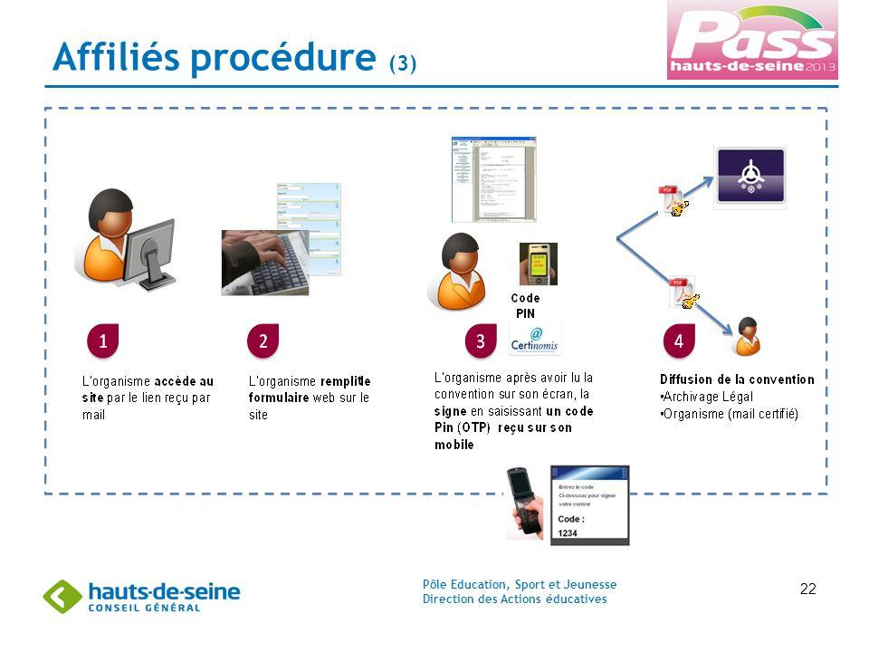 Pôle Education, Sport et Jeunesse Direction des Actions éducatives 22 Affiliés procédure (3) t