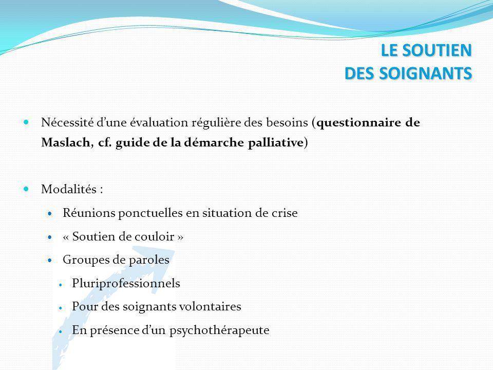 LE SOUTIEN DES SOIGNANTS Nécessité dune évaluation régulière des besoins (questionnaire de Maslach, cf. guide de la démarche palliative) Modalités : R