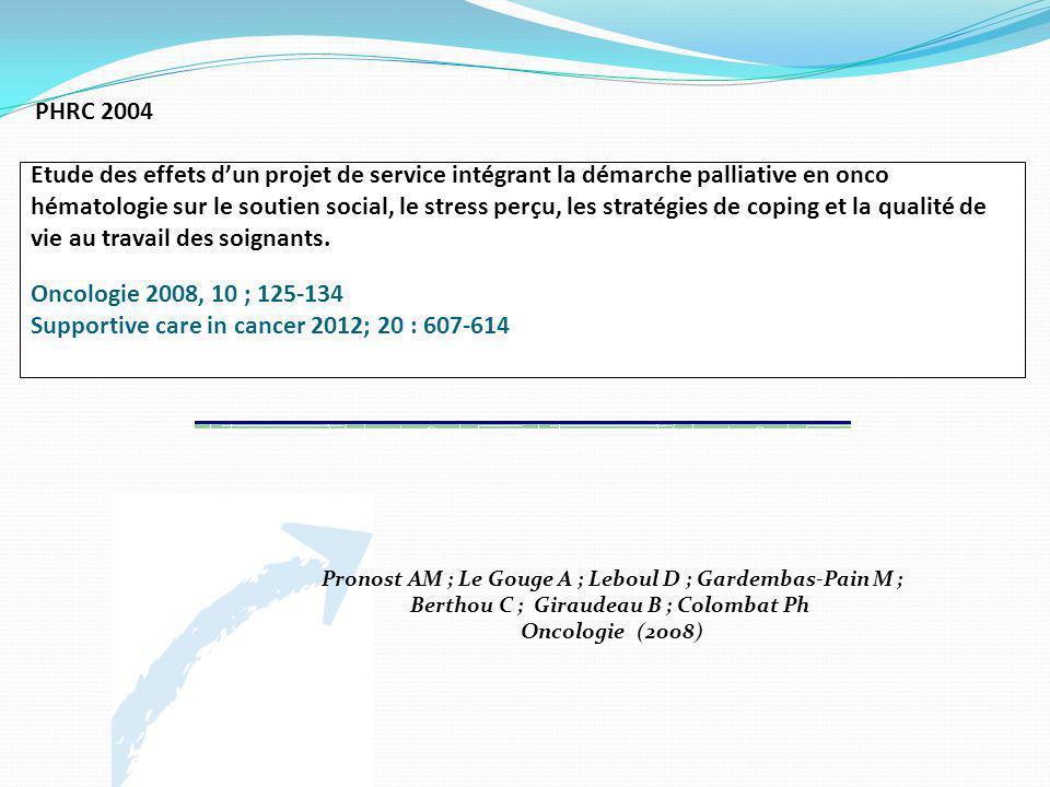 PHRC 2004 Etude des effets dun projet de service intégrant la démarche palliative en onco hématologie sur le soutien social, le stress perçu, les stra