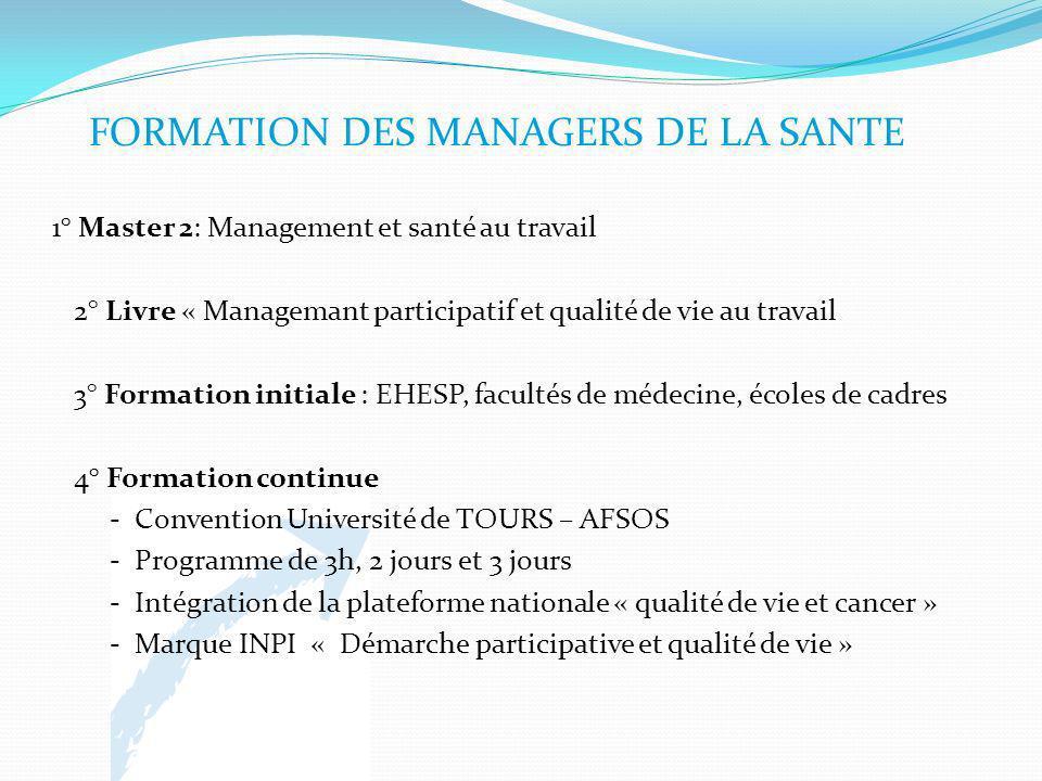 FORMATION DES MANAGERS DE LA SANTE 1° Master 2: Management et santé au travail 2° Livre « Managemant participatif et qualité de vie au travail 3° Form