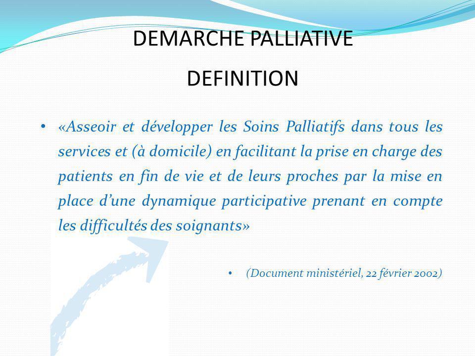 DEMARCHE PALLIATIVE DEFINITION «Asseoir et développer les Soins Palliatifs dans tous les services et (à domicile) en facilitant la prise en charge des