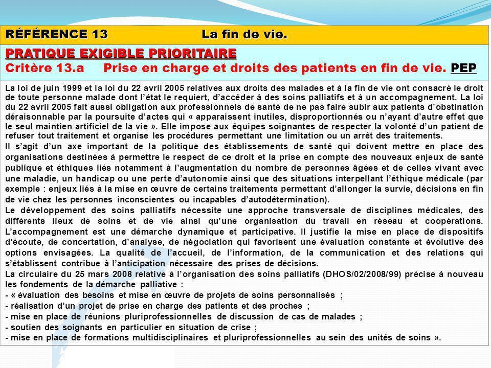 RÉFÉRENCE 13La fin de vie. PRATIQUE EXIGIBLE PRIORITAIRE PEP Critère 13.aPrise en charge et droits des patients en fin de vie. PEP La loi de juin 1999