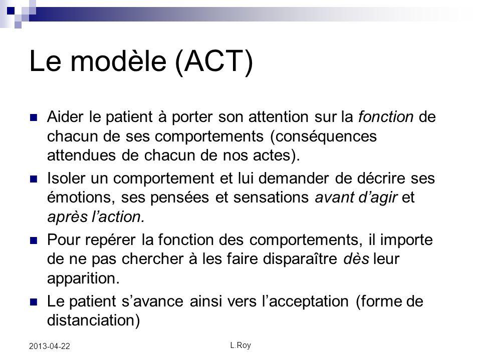 L.Roy 2013-04-22 Le modèle (ACT) Aider le patient à porter son attention sur la fonction de chacun de ses comportements (conséquences attendues de chacun de nos actes).