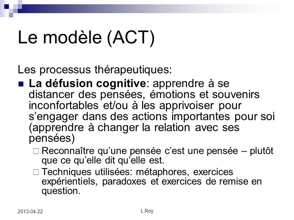 L.Roy 2013-04-22 Le modèle (ACT) Les processus thérapeutiques: La défusion cognitive: apprendre à se distancer des pensées, émotions et souvenirs inco