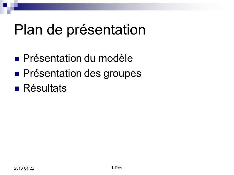 L.Roy 2013-04-22 Plan de présentation Présentation du modèle Présentation des groupes Résultats