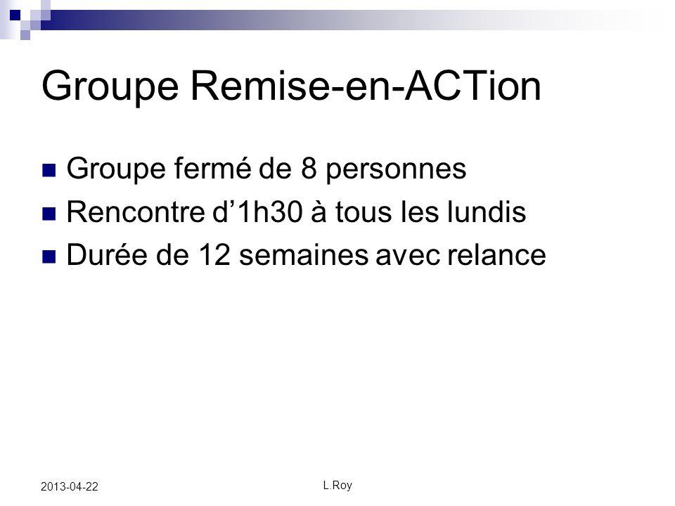 L.Roy 2013-04-22 Groupe Remise-en-ACTion Groupe fermé de 8 personnes Rencontre d1h30 à tous les lundis Durée de 12 semaines avec relance