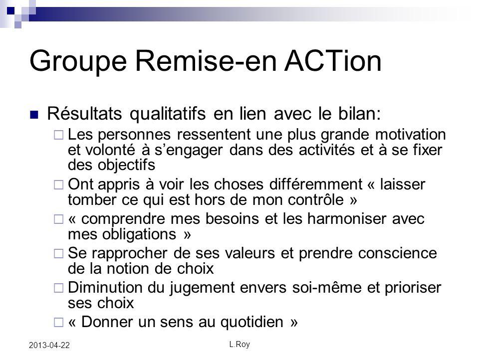 L.Roy 2013-04-22 Groupe Remise-en ACTion Résultats qualitatifs en lien avec le bilan: Les personnes ressentent une plus grande motivation et volonté à