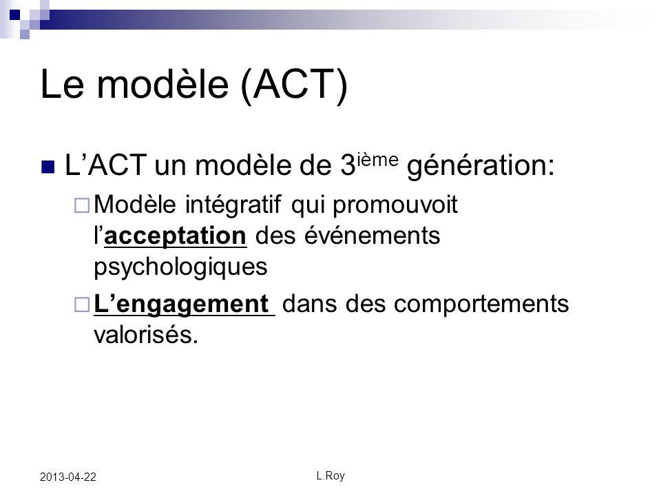 L.Roy 2013-04-22 Le modèle (ACT) LACT un modèle de 3 ième génération: Modèle intégratif qui promouvoit lacceptation des événements psychologiques Lengagement dans des comportements valorisés.