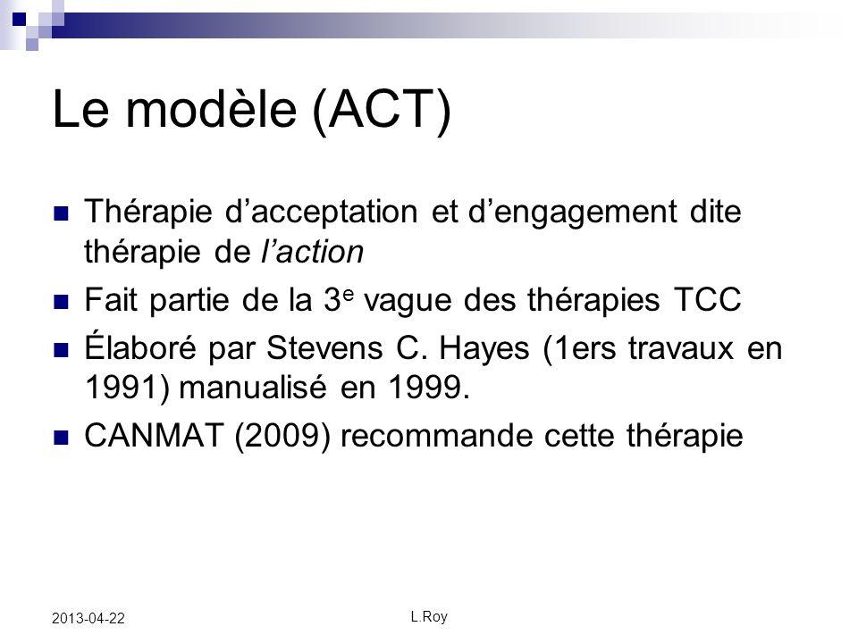 L.Roy 2013-04-22 Le modèle (ACT) Thérapie dacceptation et dengagement dite thérapie de laction Fait partie de la 3 e vague des thérapies TCC Élaboré par Stevens C.