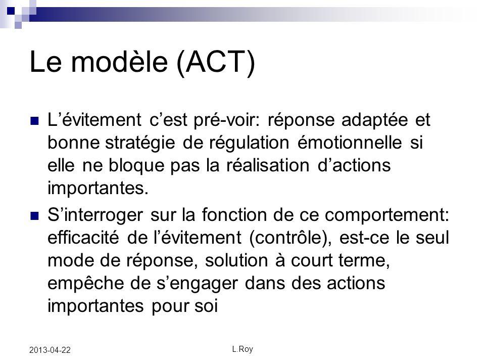L.Roy 2013-04-22 Le modèle (ACT) Lévitement cest pré-voir: réponse adaptée et bonne stratégie de régulation émotionnelle si elle ne bloque pas la réal