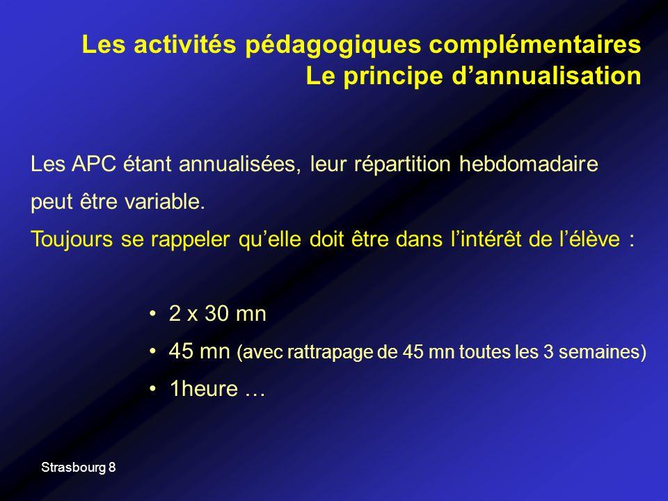 Strasbourg 8 Les APC étant annualisées, leur répartition hebdomadaire peut être variable. Toujours se rappeler quelle doit être dans lintérêt de lélèv