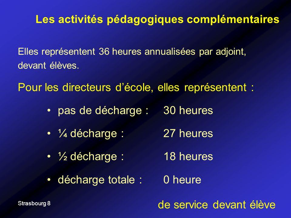 Strasbourg 8 Elles représentent 36 heures annualisées par adjoint, devant élèves. Pour les directeurs décole, elles représentent : pas de décharge : 3