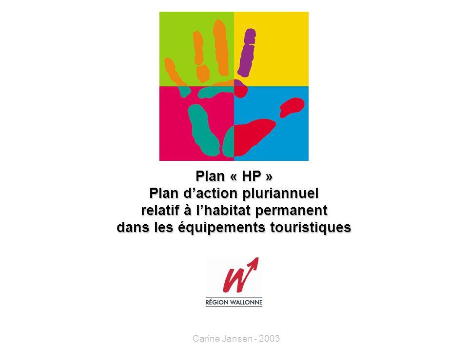 Plan « HP » Plan daction pluriannuel relatif à lhabitat permanent dans les équipements touristiques Carine Jansen - 2003