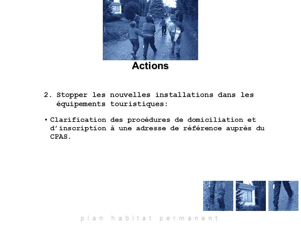 Actions p l a n h a b i t a t p e r m a n e n t 2.Stopper les nouvelles installations dans les équipements touristiques: Clarification des procédures de domiciliation et dinscription à une adresse de référence auprès du CPAS.