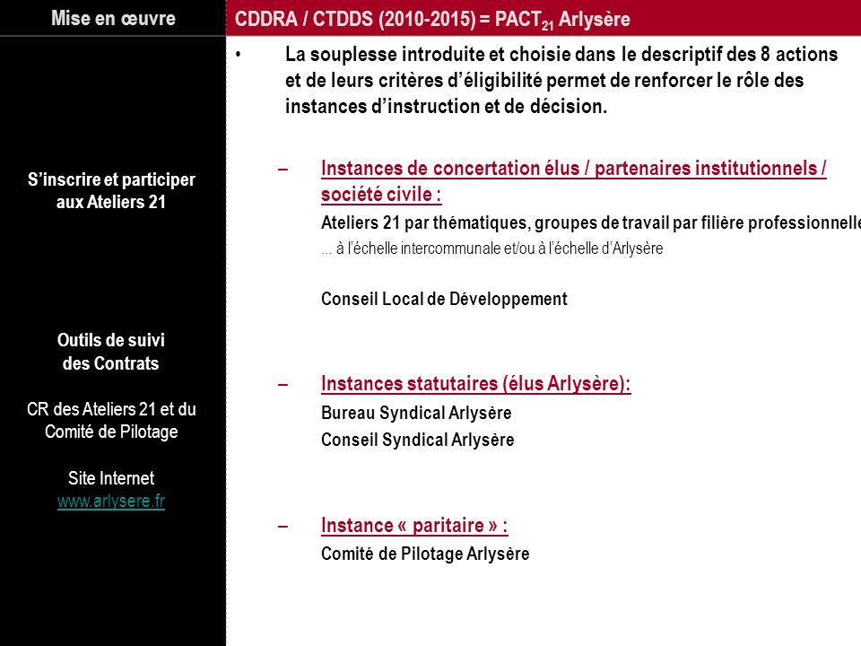 Mise en œuvre CDDRA / CTDDS (2010-2015) = PACT 21 Arlysère La souplesse introduite et choisie dans le descriptif des 8 actions et de leurs critères dé