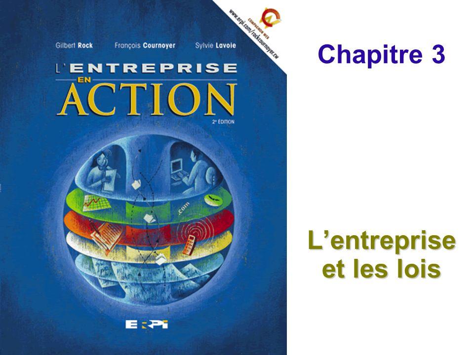 Chapitre 3 Lentreprise et les lois Diapositives 22 © ERPI – Lentreprise en action, 2e édition.