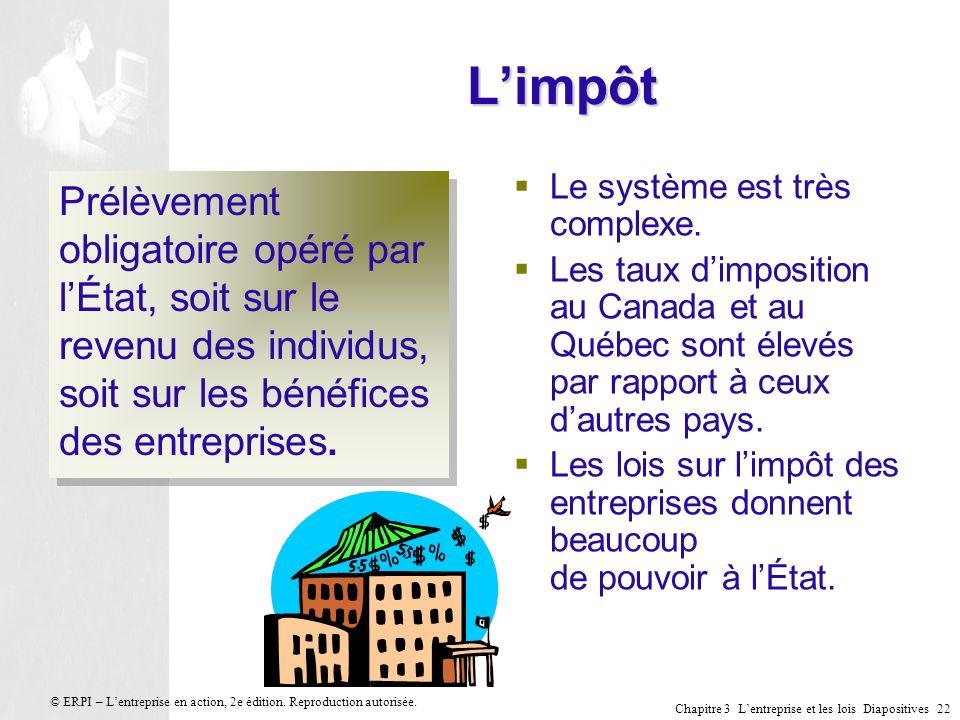 Chapitre 3 Lentreprise et les lois Diapositives 22 © ERPI – Lentreprise en action, 2e édition. Reproduction autorisée. Limpôt Prélèvement obligatoire