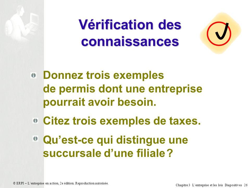 Chapitre 3 Lentreprise et les lois Diapositives 26 © ERPI – Lentreprise en action, 2e édition. Reproduction autorisée. Vérification des connaissances